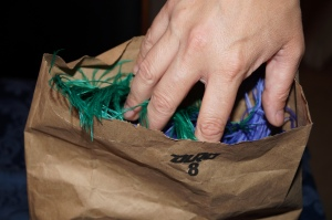 Touching Ostrich Feathers in a Brown Paper Bag