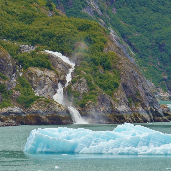 An iceberg and a waterfall