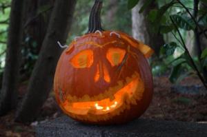 This year's jack-o-lantern has a brain sucker.