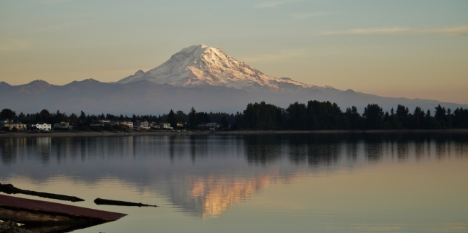 Mt. Rainier reflected in Lake Tapps