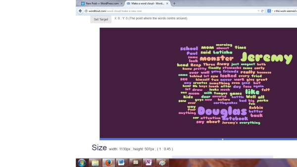 Word cloud for first ten pages of My Monster is Better than Your Monster