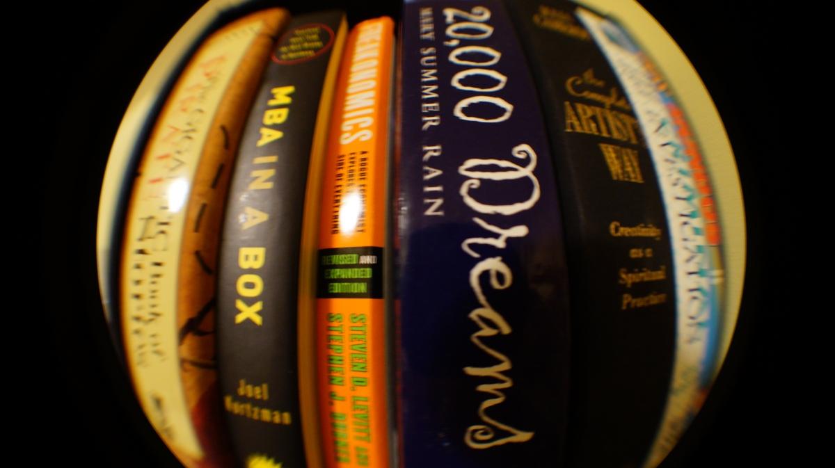 Books through a fish eye lens