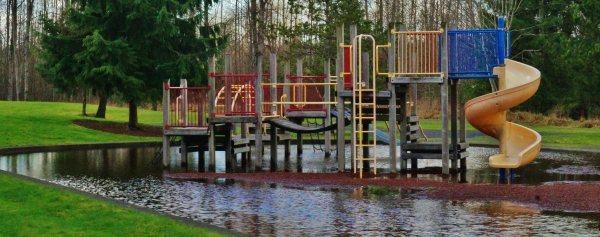 A flooded play area