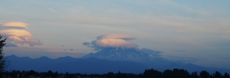 Mt. Rainier and puffy clouds