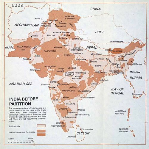 A map of India from 1940 before partition
