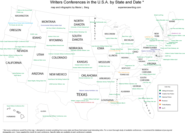 Map of US with writers conferences by state and month