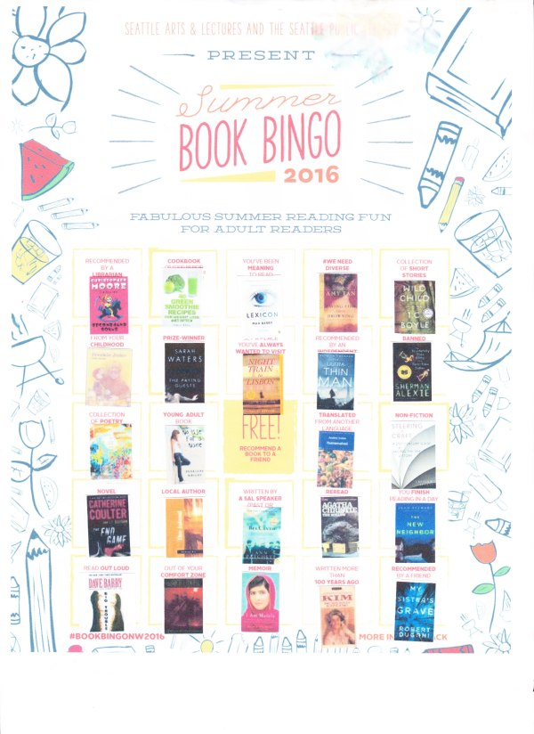A scanned image of my completed seattle public library bingo card with little images of each book cover in each space.