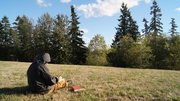 picture of man sitting next to his dictionary on a grassy hill writing in the park