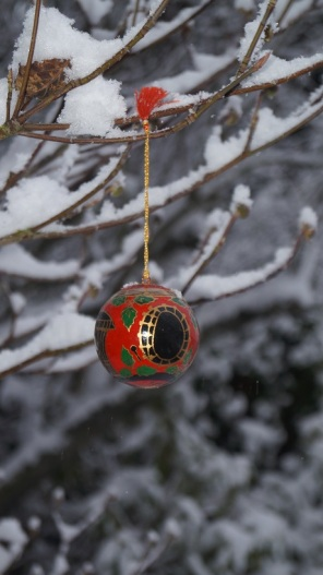 white Christmas painted glass ornament