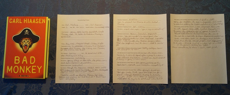 image of the book Bad Monkey by Carl Hiaasen and a filled in scene deconstruction worksheet