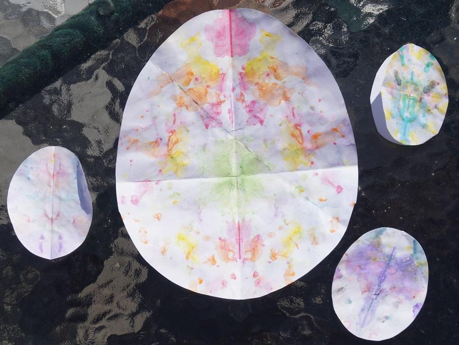 Rorschach Easter eggs cut after