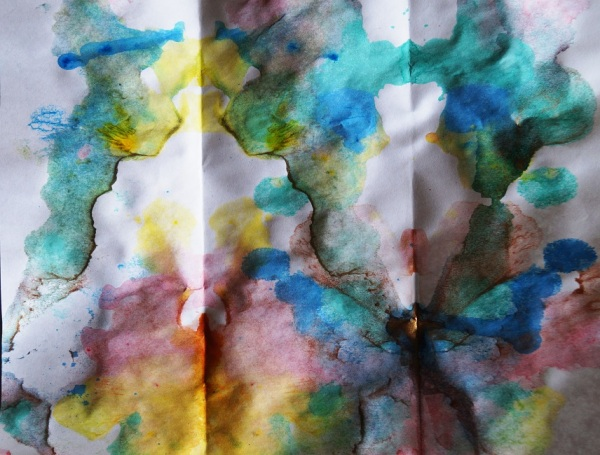 double ink blot with acrylic paint