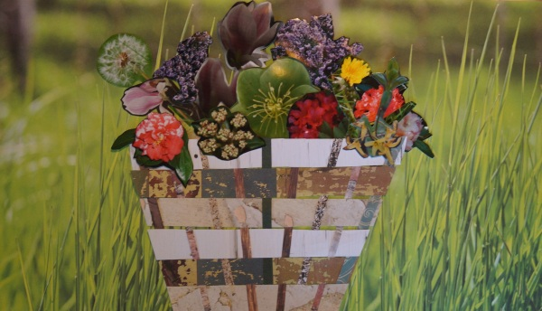 collage of photos of flowers in a woven-paper basket