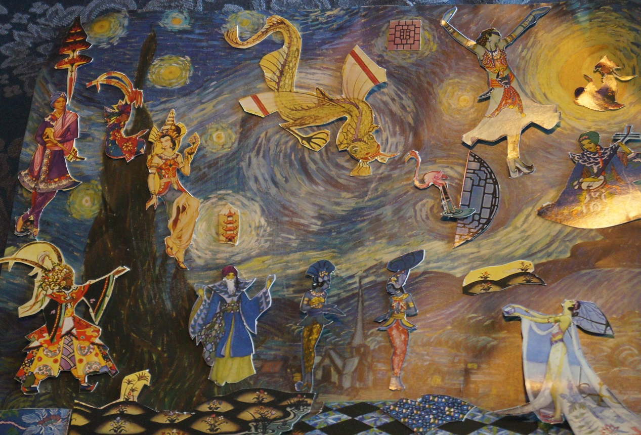 a collage of Starry Night by Van Gogh and cut outs from Arabian Nights illustrations by Virginia Frances Sterrett (1900–1931)