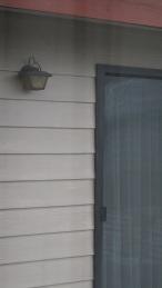 through the window at a door